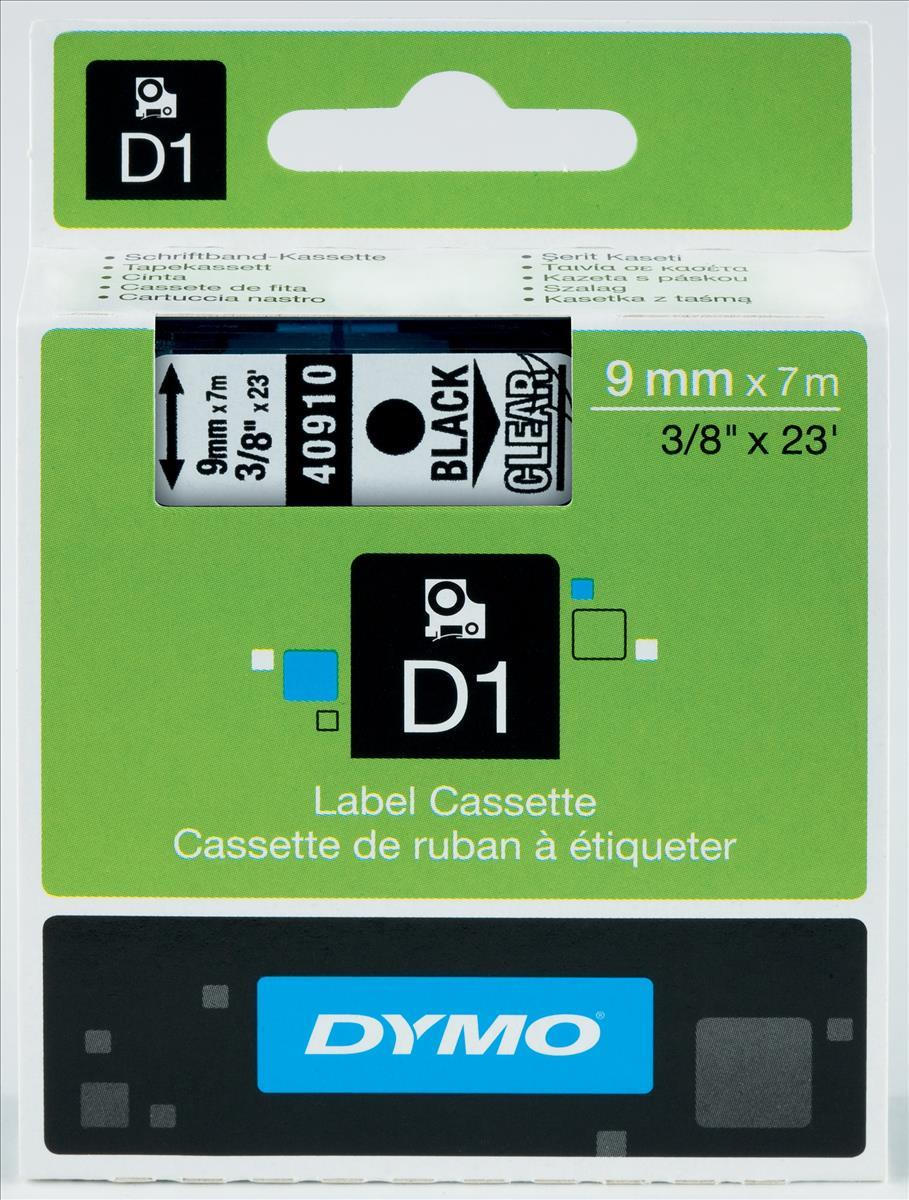 Dymo D1 Tape for Electronic Labelmakers 9mmx7m Black on Clear Ref 40910 S0720670