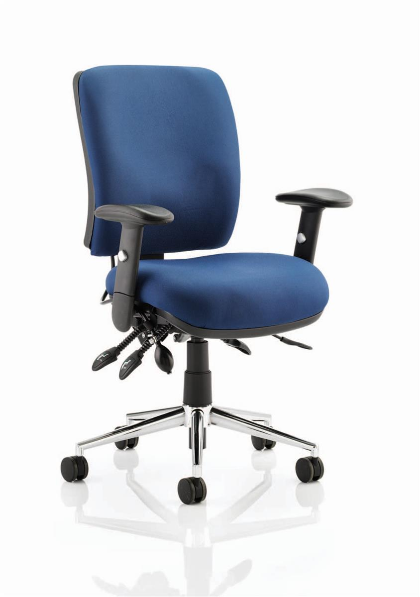Image for Sonix Operator Chair Height-adjustable Arms Flat Packed Fabric Blue