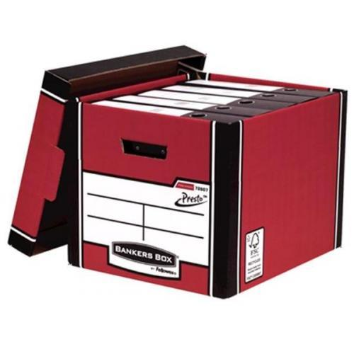Image for Bankers Box by Fellowes Premium 726 Archive Storage Box Red and White Ref 7260701 [Pack 10]