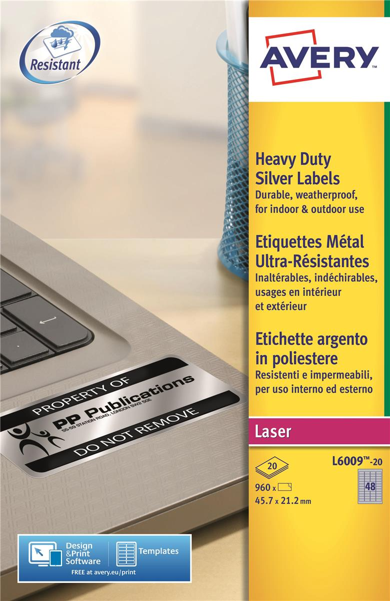 Image for Avery Heavy Duty Labels Laser 48 per Sheet 45.7x21.2mm Silver Ref L6009-20 [960 Labels]
