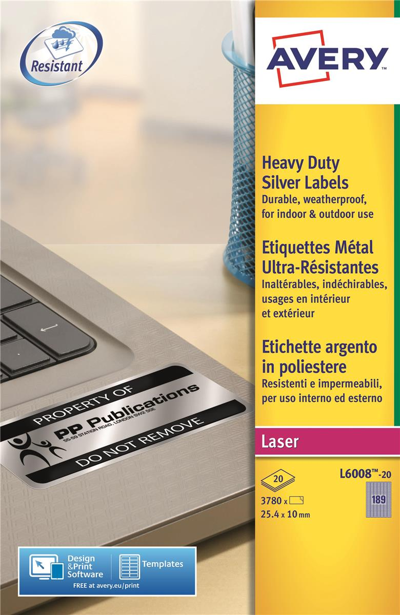 Image for Avery Heavy Duty Labels Laser 189 per Sheet 25.4x10mm Silver Ref L6008-20 [3780 Labels]