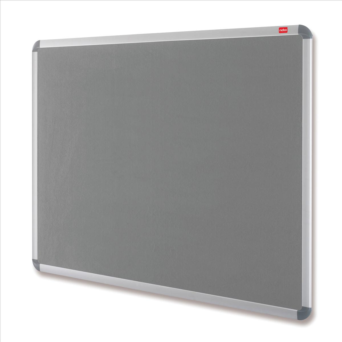 Nobo Euro Plus Noticeboard Felt with Fixings and Aluminium Frame W1528xH1018mm Grey Ref 30234146