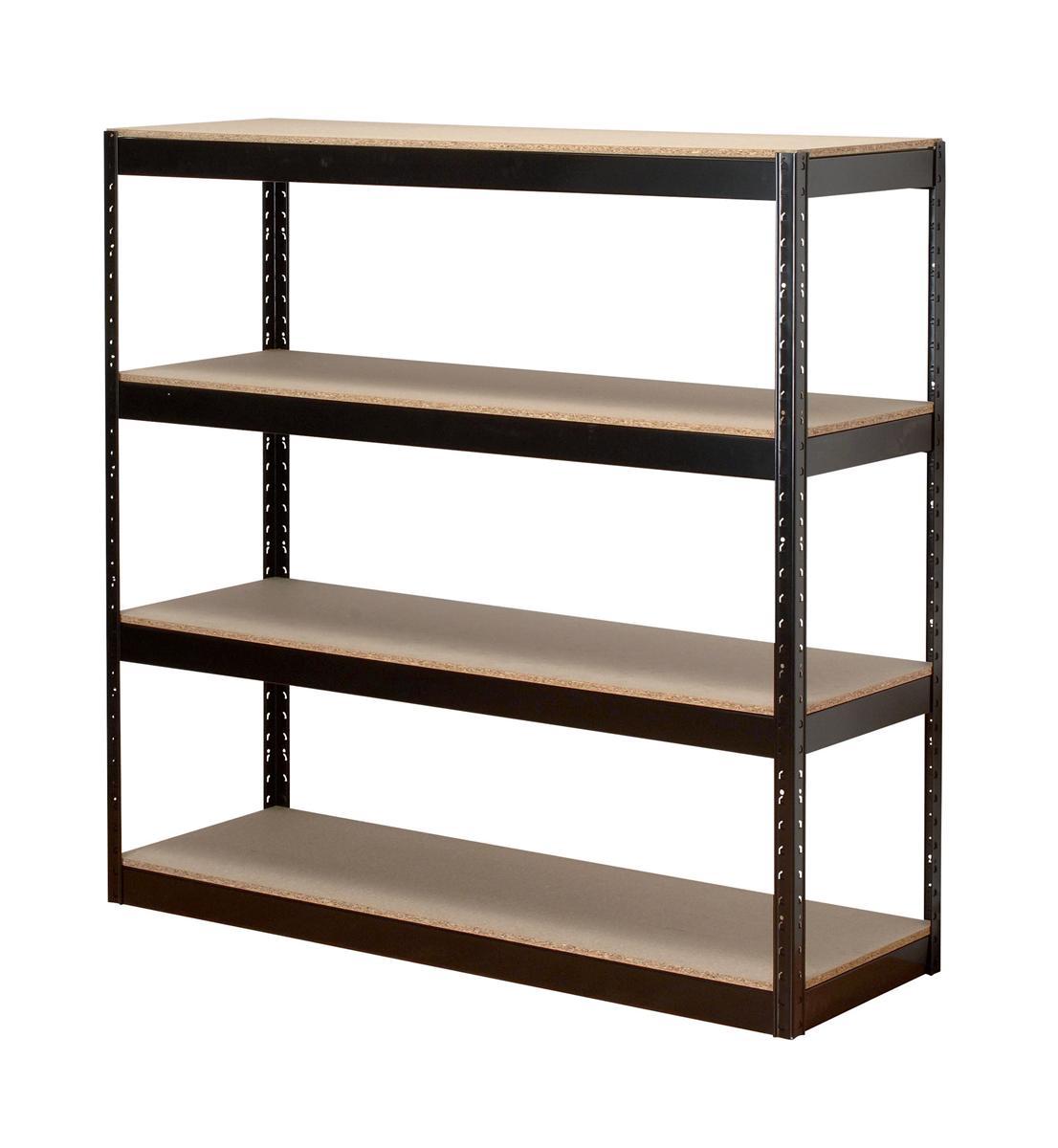 Image for Influx Archive Shelving Unit Heavy-duty Boltless 4 Shelves Capacity 4x 100kg W1320xD450xH1315mm Black