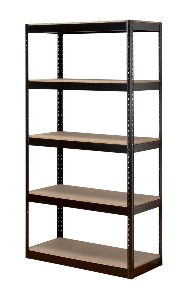 Image for Influx Storage Shelving Unit Heavy-duty Boltless 5 Shelves Capacity 150kg Black Ref SP414581