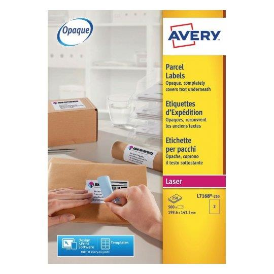 Image for Avery Addressing Labels Laser Jam-free 2 per Sheet 199.6x143.5mm White Ref L7168-250 [500 Labels]