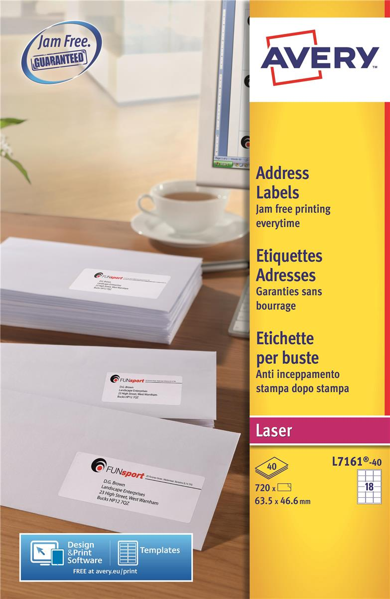 Image for Avery Addressing Labels Laser Jam-free 18 per Sheet 63.5x46.6mm White Ref L7161-40 [720 Labels]