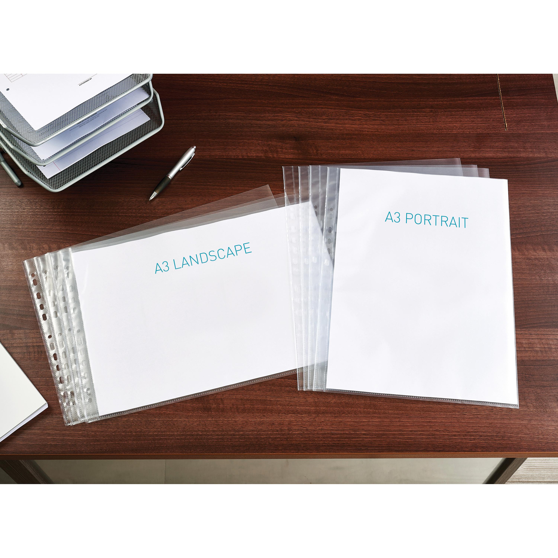 Elba Premium Pocket Polypropylene Top-opening 120 Microns A3 Landscape Clear Ref 400005481 [Pack 25]