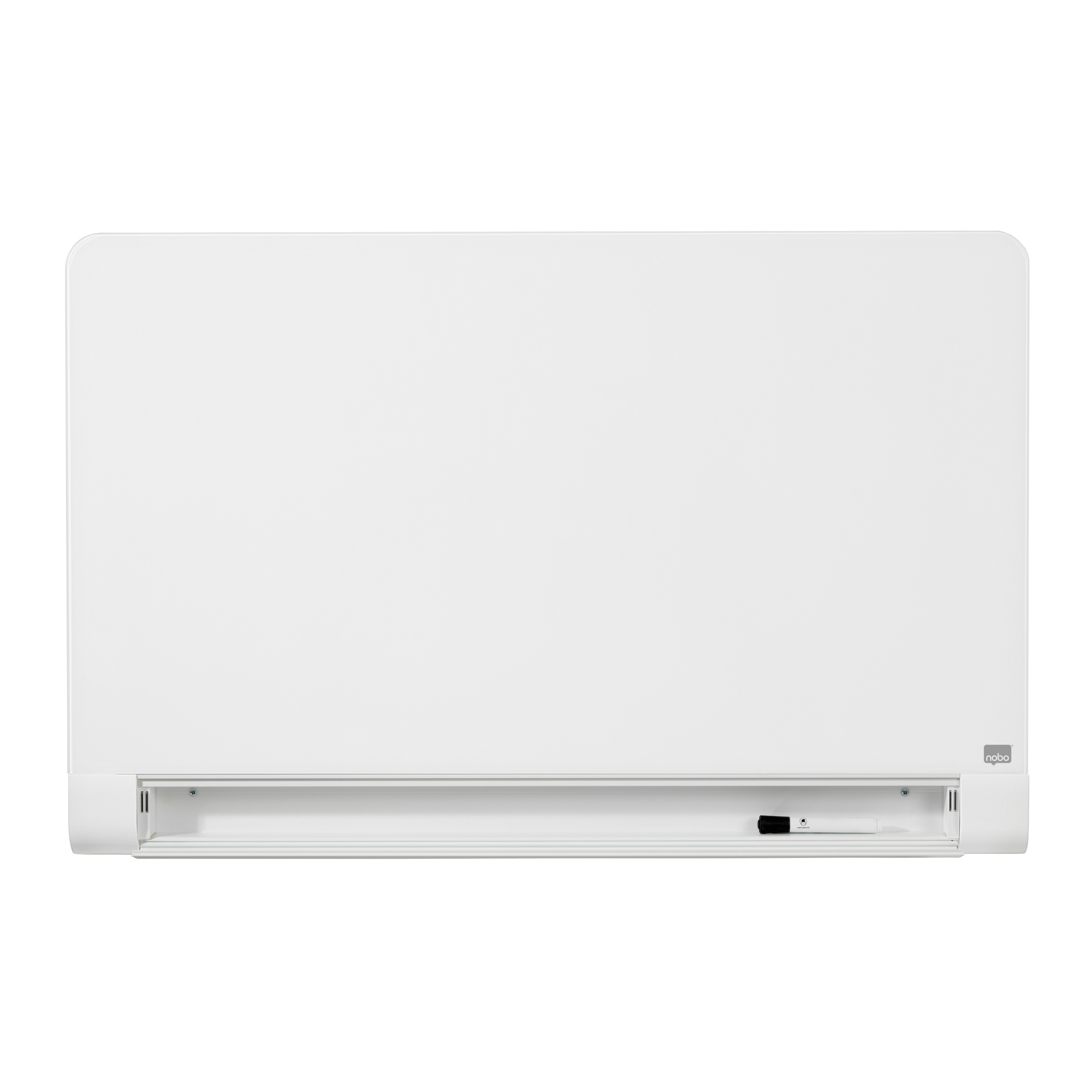 Magnetic Nobo Widescreen 45 inch WBrd Gls Rnd Cnr Magn Scratch-Res Fixings Inc W1000xH560mm Brill Wht Ref 1905191