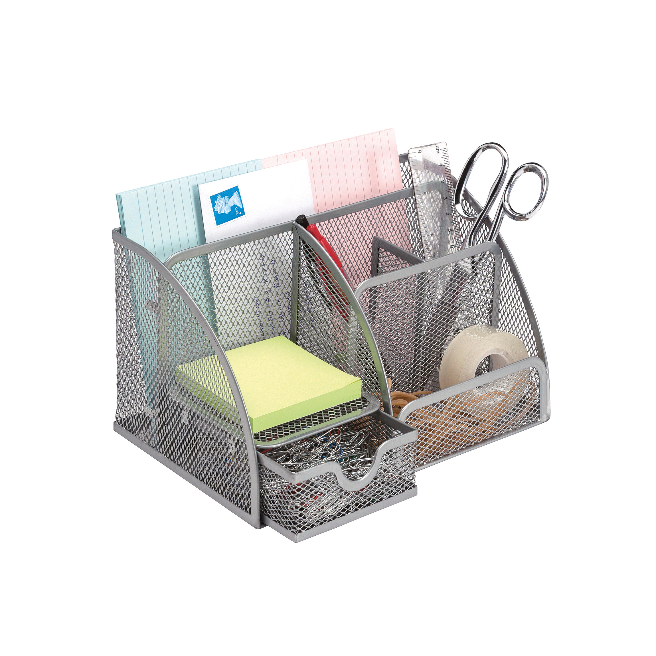 5 Star Office Desk Organiser Mesh Scratch Resistant with Non Marking Rubber Pads Silver