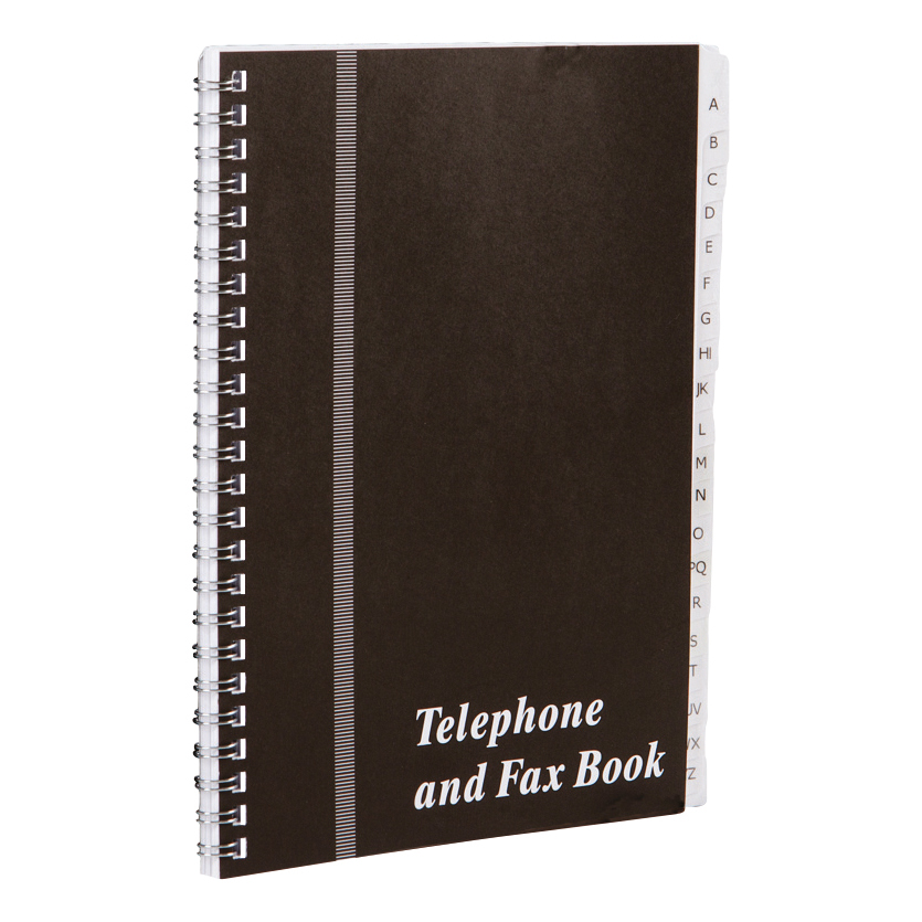 Address Books Telephone and Fax Book A-Z Index Wirebound Board Cover A5 Black