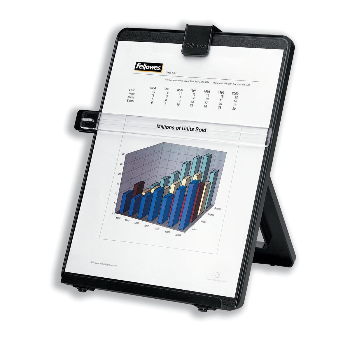 Copyholders Fellowes Workstation Copyholder Easel Capacity 10mm with Line Guide A4 Black Ref 21106