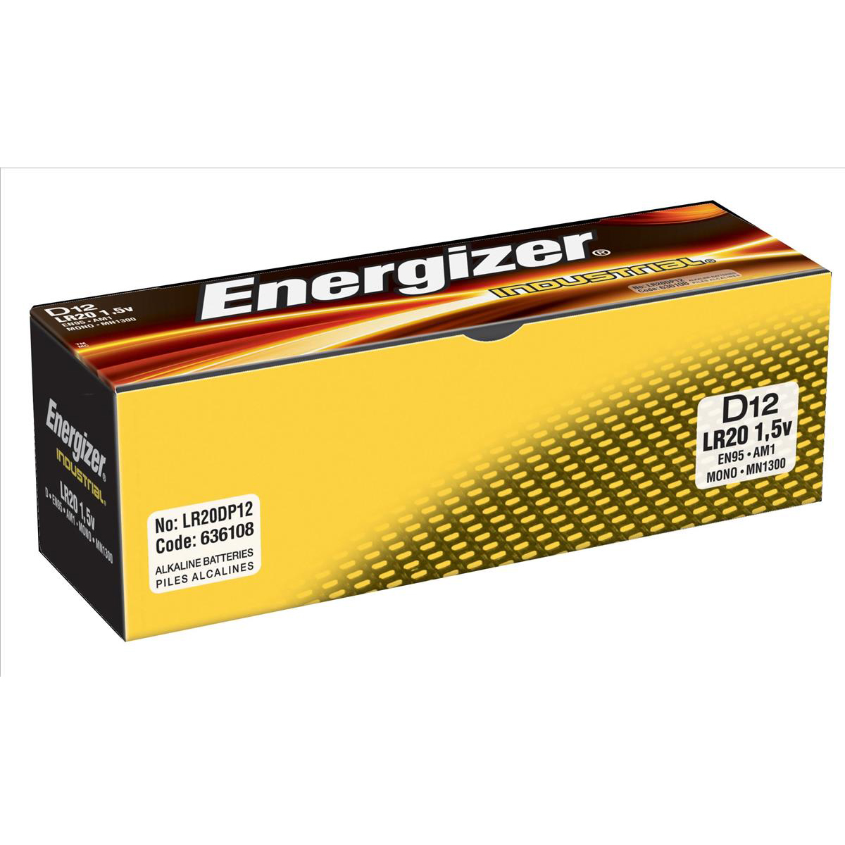 D Energizer Industrial Battery Long Life LR20 1.5V D Ref 636108 Pack 12