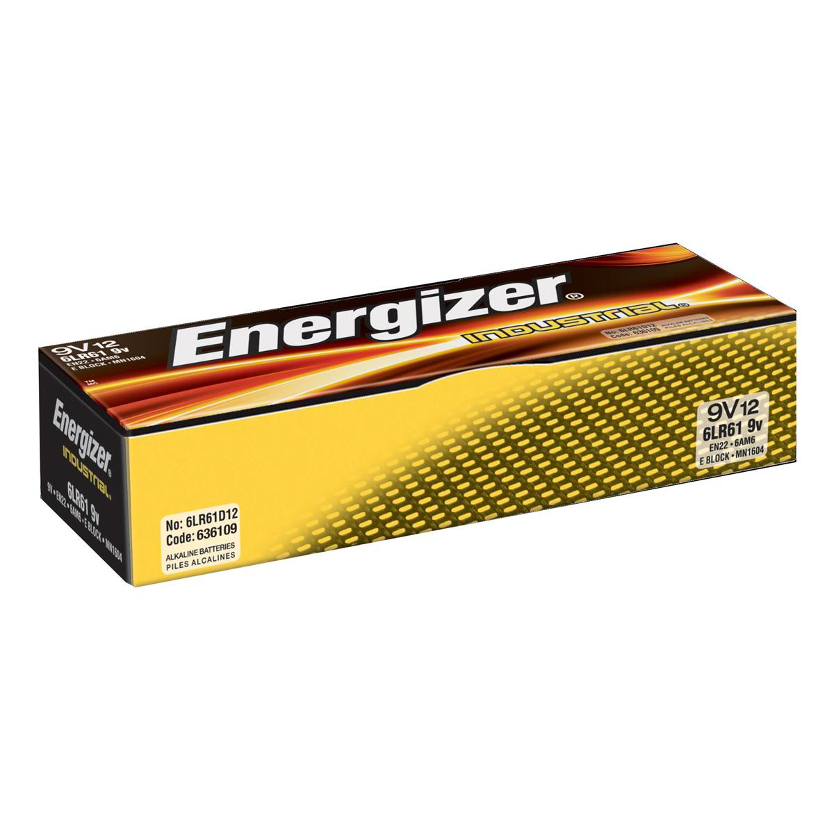 9V Energizer Industrial Battery Long Life 6LR61 9V Ref 636109 Pack 12