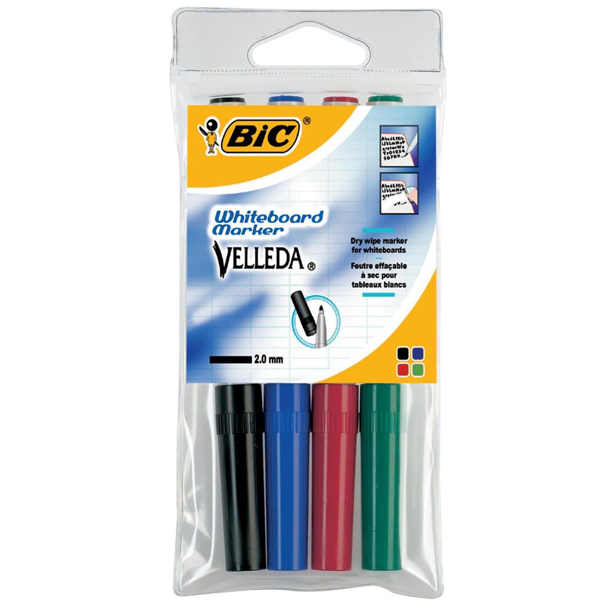 Bic Velleda Marker W/bd Dry-wipe 1741 Fine Bullet Tip 1.4mm Line Wallet Assorted Ref 1199001744 Pack 4