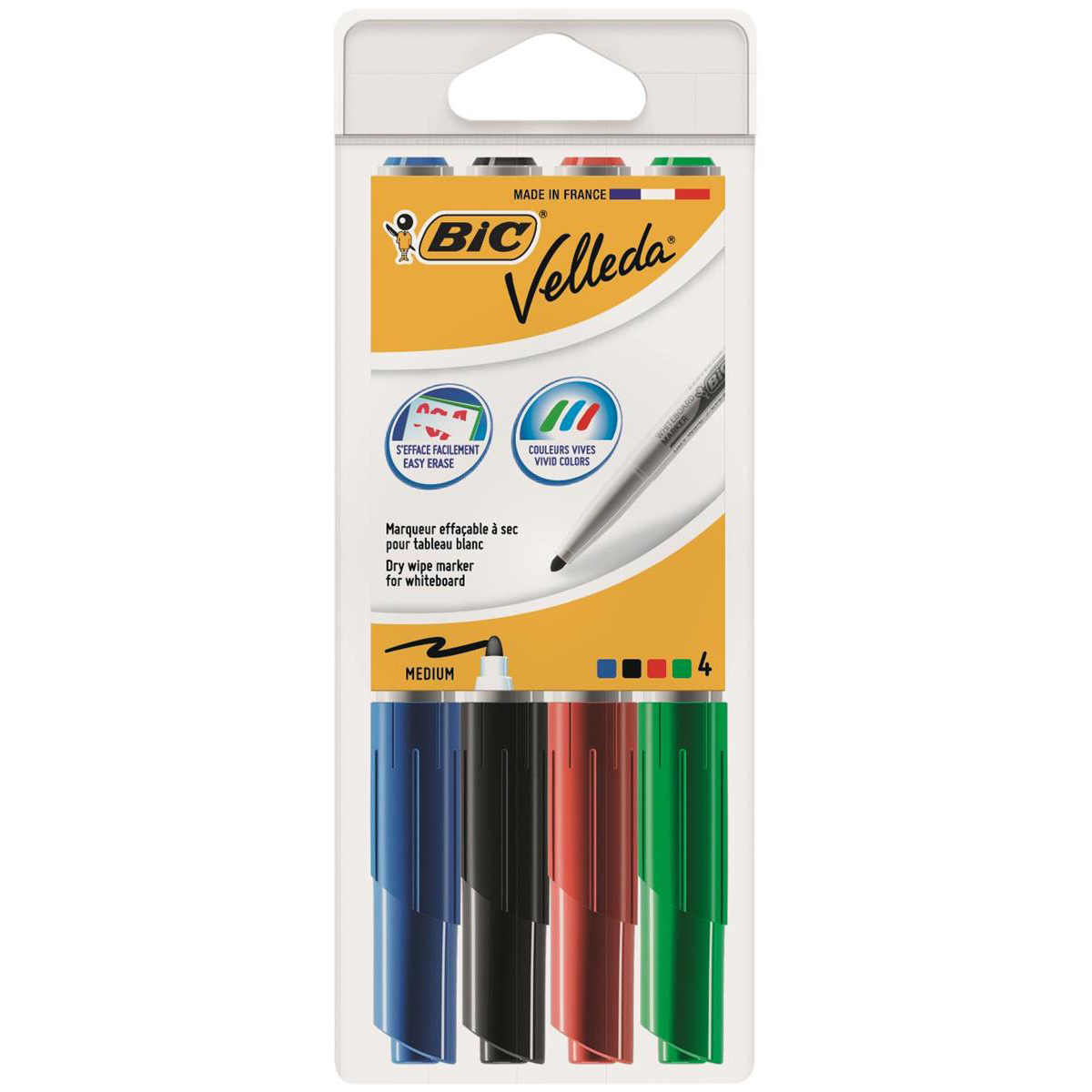 Bic Velleda 1741 Whiteboard Marker Bullet Tip Line Width 2mm Assorted Ref 1199001744 Wallet 4