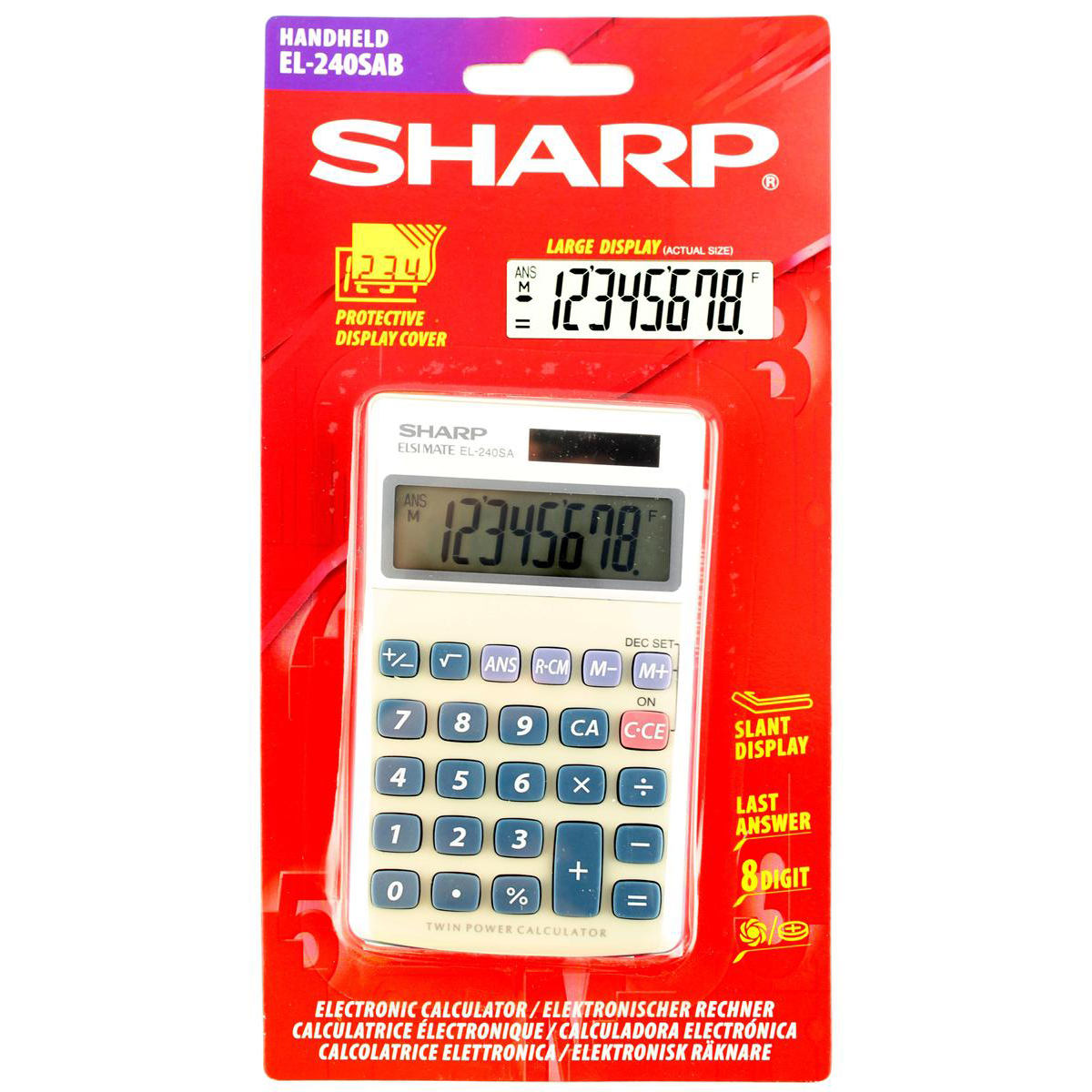 Handheld Calculator Sharp Handheld Calculator 8 Digit 3 Key Memory Solar and Battery Power 71x17x116mm Silver Ref EL240SAB