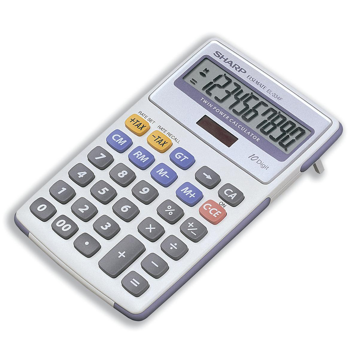 Desktop Calculator Sharp Desktop Calculator 10 Digit 4 Key Memory Battery/Solar Power 108x15x170mm White Ref EL334FB