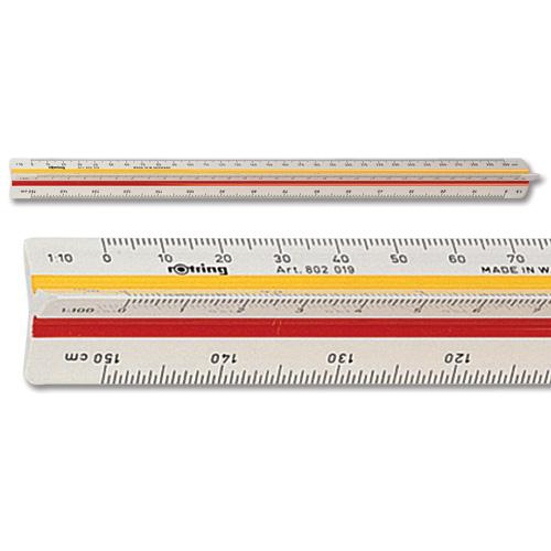 Rotring Ruler Triangular Reduction Scale 1 Architect 1:10 to 1:1250 with 2 Coloured Flutings Ref S0220481