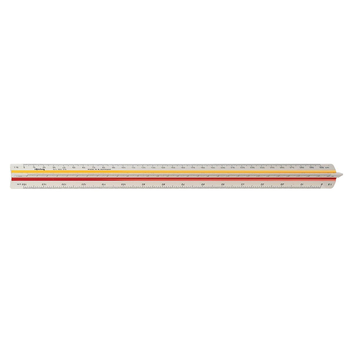 Image for Rotring Ruler Triangular Reduction Scale 6 Surveying 1:25 to 1:2500 with 2 Coloured Flutings Ref S0220721