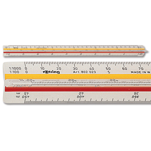 Rotring Ruler Triangular Reduction Scale 6 Surveying 1:25 to 1:2500 with 2 Coloured Flutings Ref S0220721