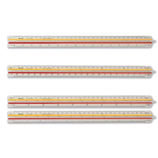 rOtring Ruler Triangular Reduction Scale 6 Surveying 1:25 to 1:2000 with 2 Coloured Flutings Ref S0220721