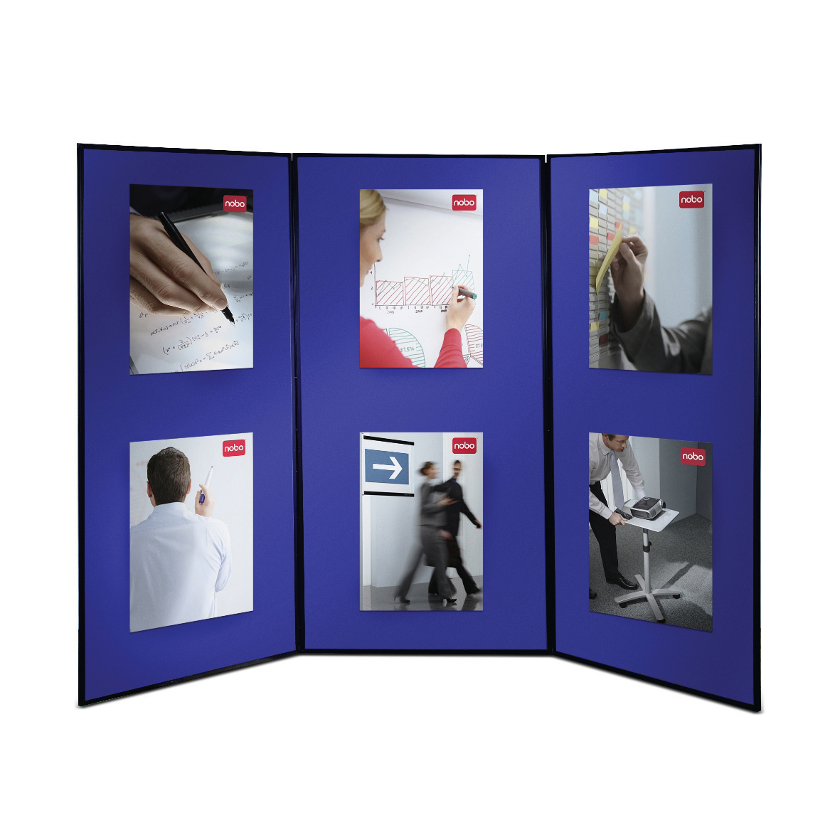 Panel assemblies or sections Nobo Showboard Extra Display 3 Panels 9.5Kg W1800xH2700mm-Open Sides Blue and Grey Ref 1901710