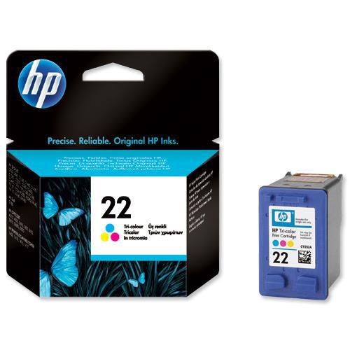 Hewlett Packard HP No.22 Inkjet Cartridge Page Life 165pp 5ml Colour Ref C9352AE