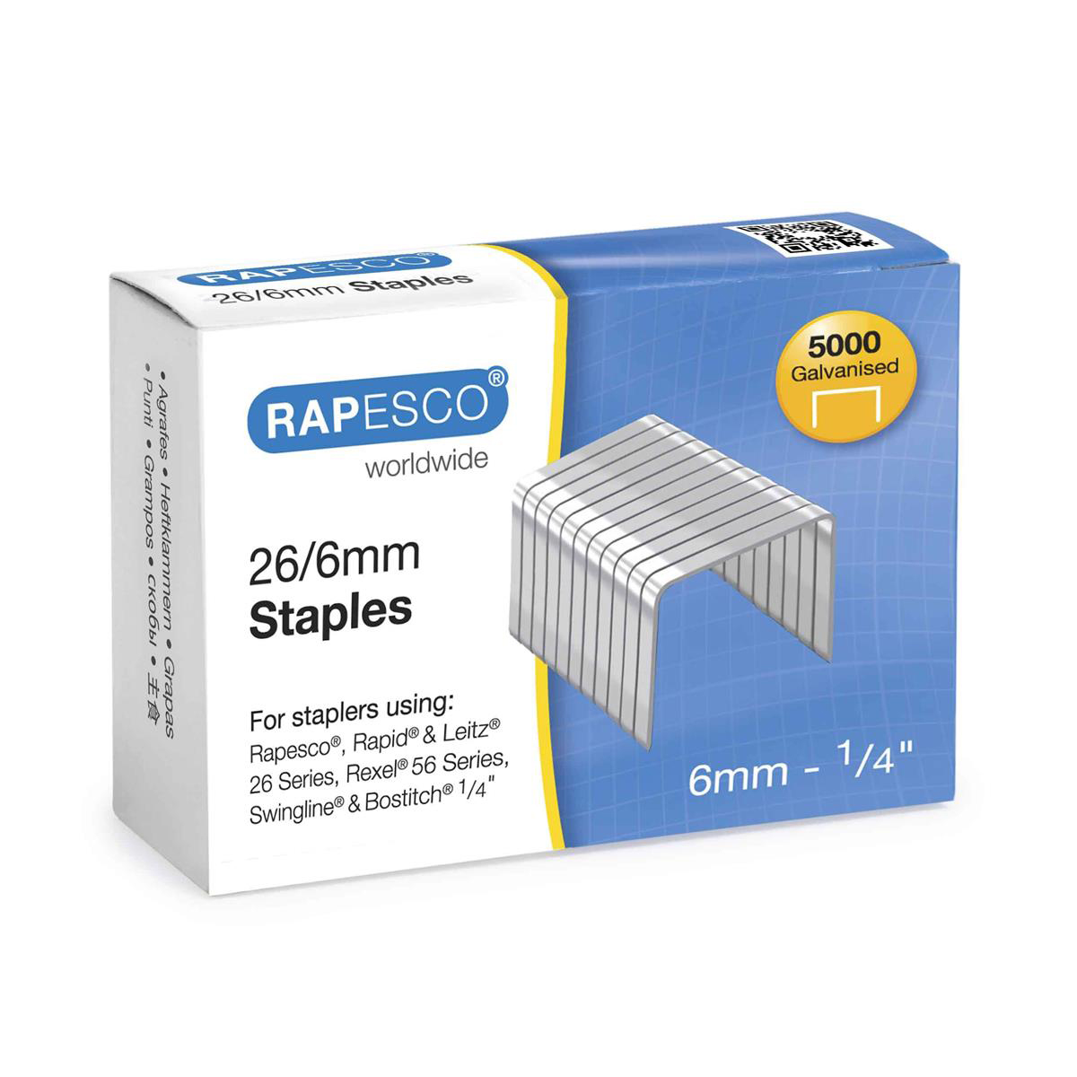 Rapesco Staples 26/6mm Ref S11662Z3 Pack 5000