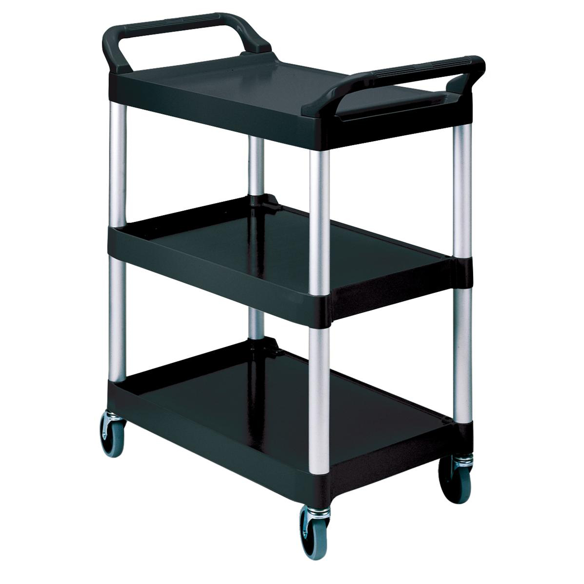 Recycling Bins Rubbermaid Utility Cart Polypropylene 3 Tiers Scratch Resistant W854xD473xH959mm Black Ref 3424-88-BLA