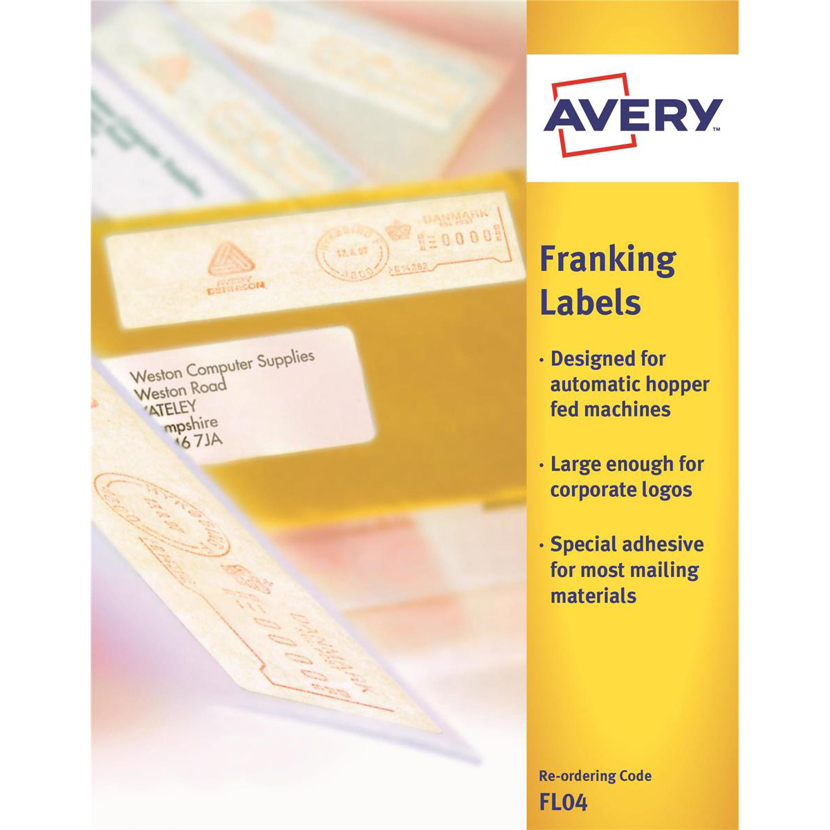 Avery Auto Franking Labels 1 per Sheet 140x38mm White Ref FL04 1000 Labels