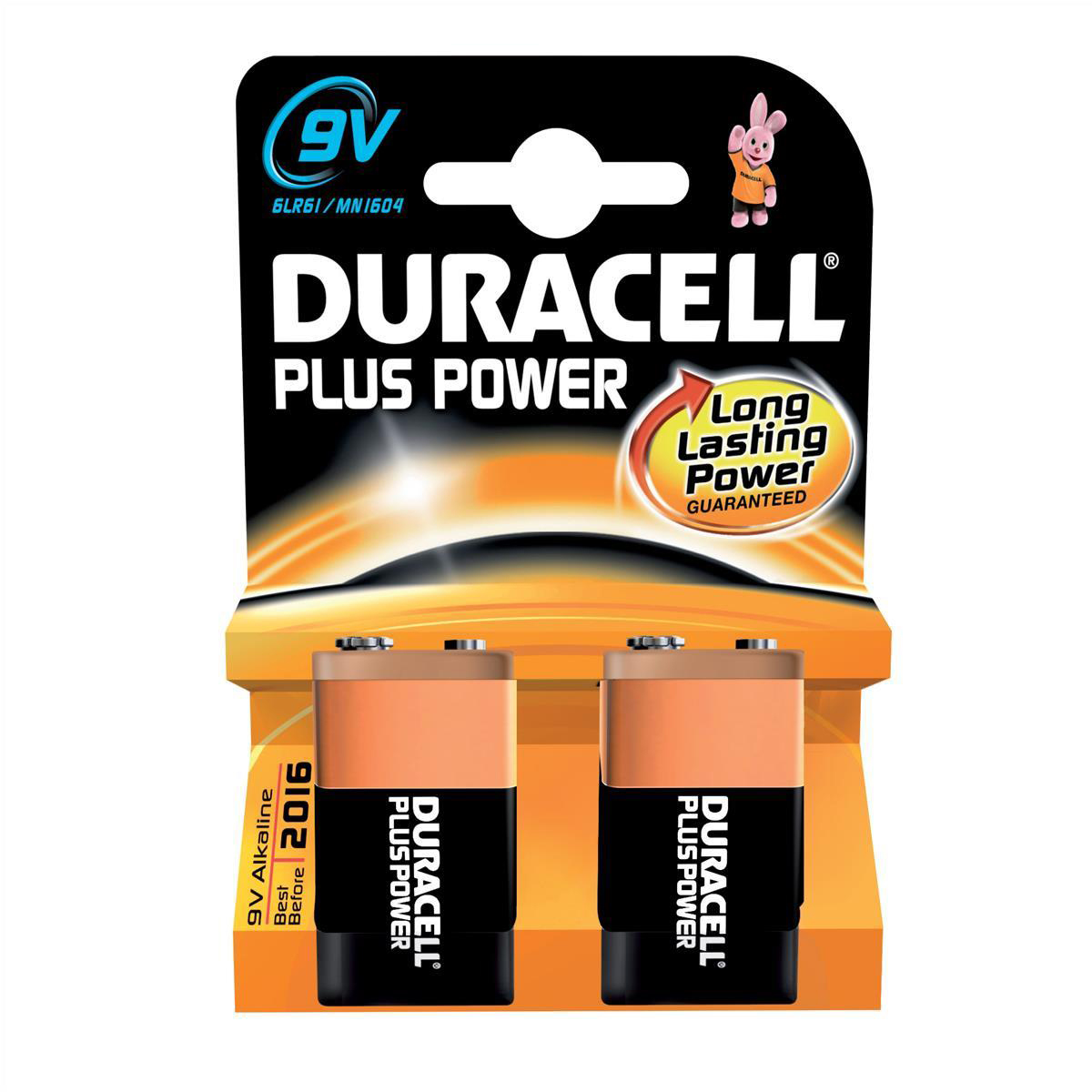 Duracell Plus Power MN1604 Battery Alkaline 9V Ref 81275459 Pack 2