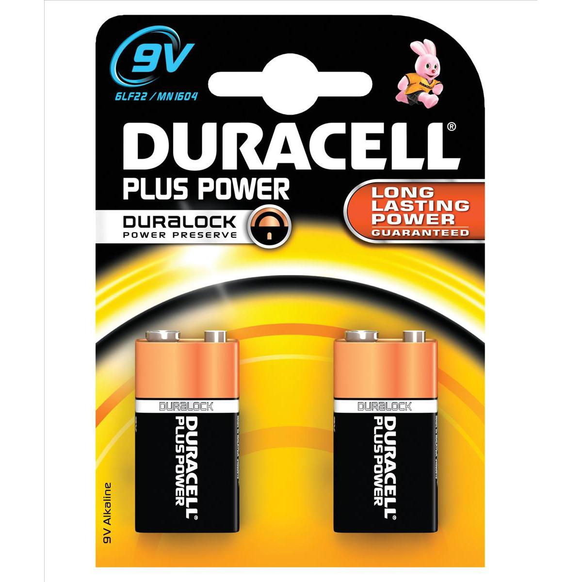 Duracell Plus Power MN1604 Battery Alkaline 9V Ref 81275459 Pack 2
