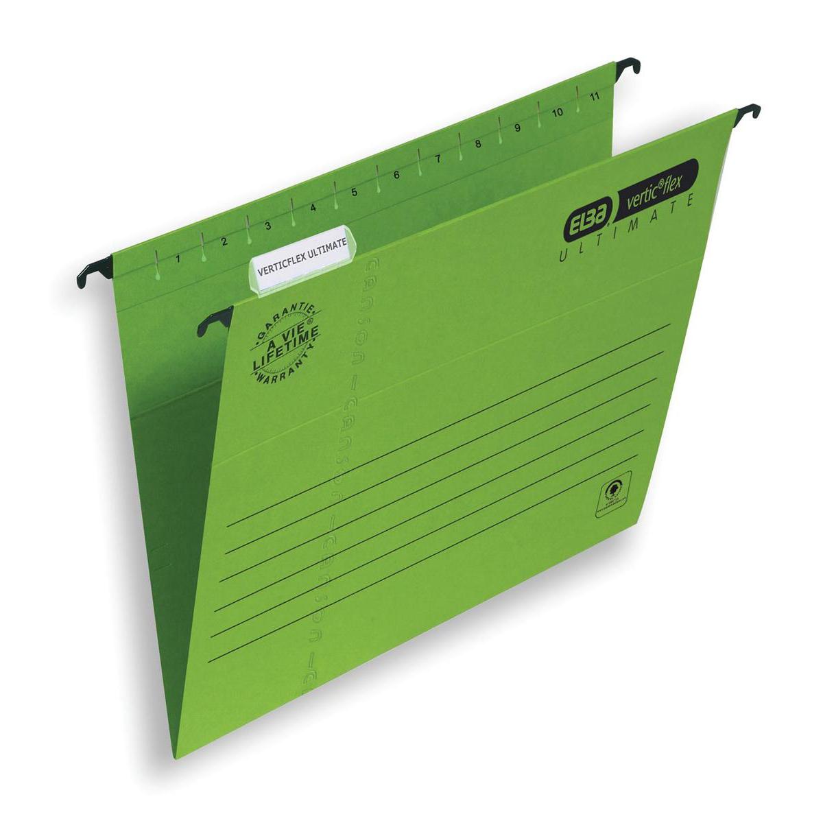 Elba Verticflex Ultimate Suspension File Manilla 15mm V-base 240gsm A4 Green Ref 100331150 Pack 25