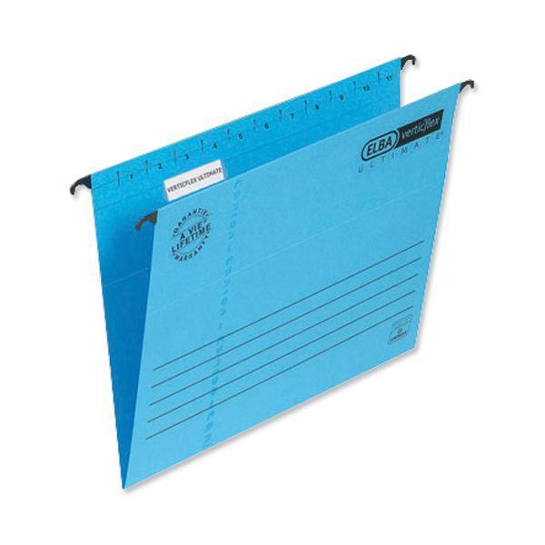 Elba Verticflex Ultimate Suspension File Manilla 15mm V-base 240gsm Foolscap Blue Ref 100331168 Pack 25