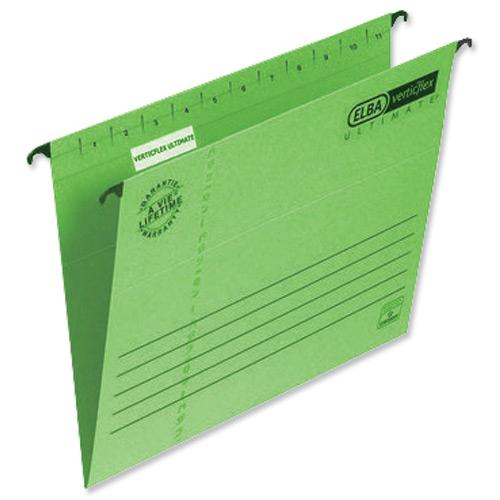 Elba Verticflex Ultimate Suspension File 15mm V-base 240gsm Foolscap Green Ref 100331170 Pack 25