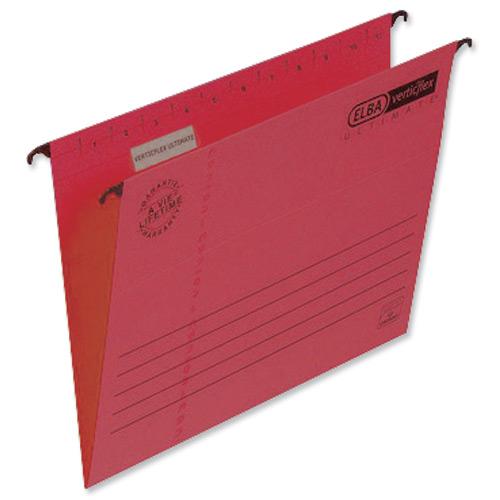Elba Verticflex Ultimate Suspension File Manilla 15mm V-base 240gsm Foolscap Red Ref 100331172 Pack 25