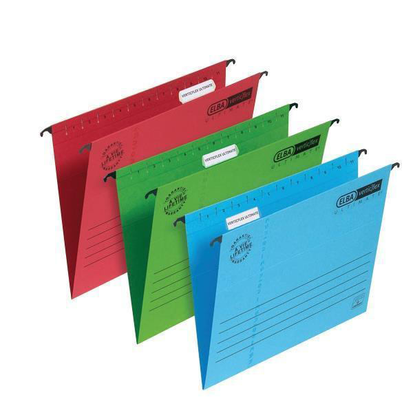 Elba Verticflex Ultimate Suspension File Manilla 15mm V-base 240gsm Foolscap Red Ref 100331172 [Pack 25]