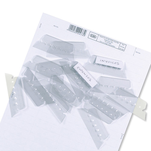 Elba Verticflex Plastic Tabs for Suspension File Clear Ref 100330217 [Pack 25]