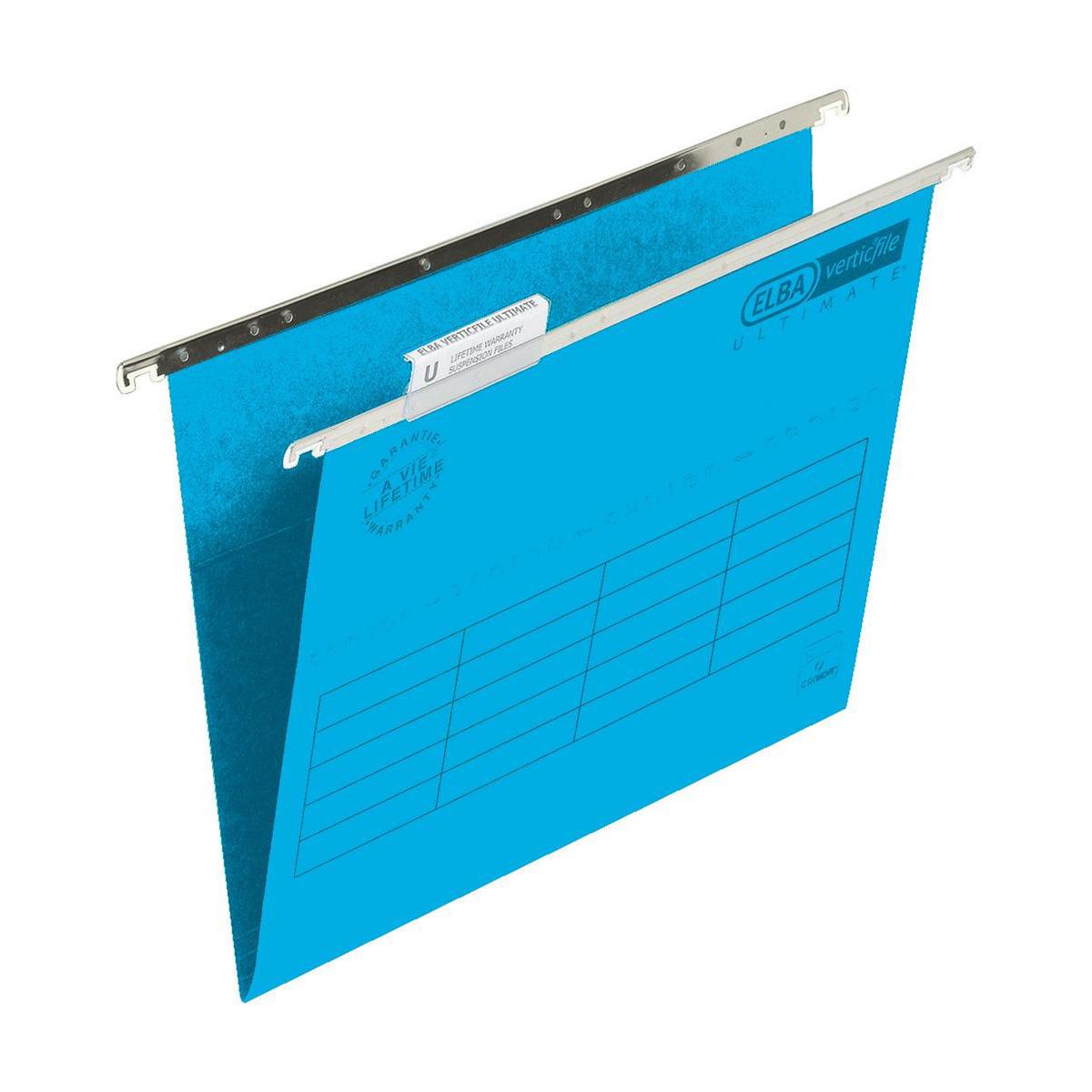 Elba Verticfile Ultimate Suspension File 15mm V-base Manilla 240gsm Foolscap Blue Ref 100331115 Pack 50