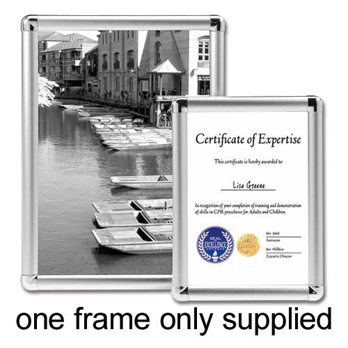 Certificate / Photo Frames 5 Star Facilities Clip Display Frame Aluminium with Fixings Front-loading A4 210x13x297mm Silver