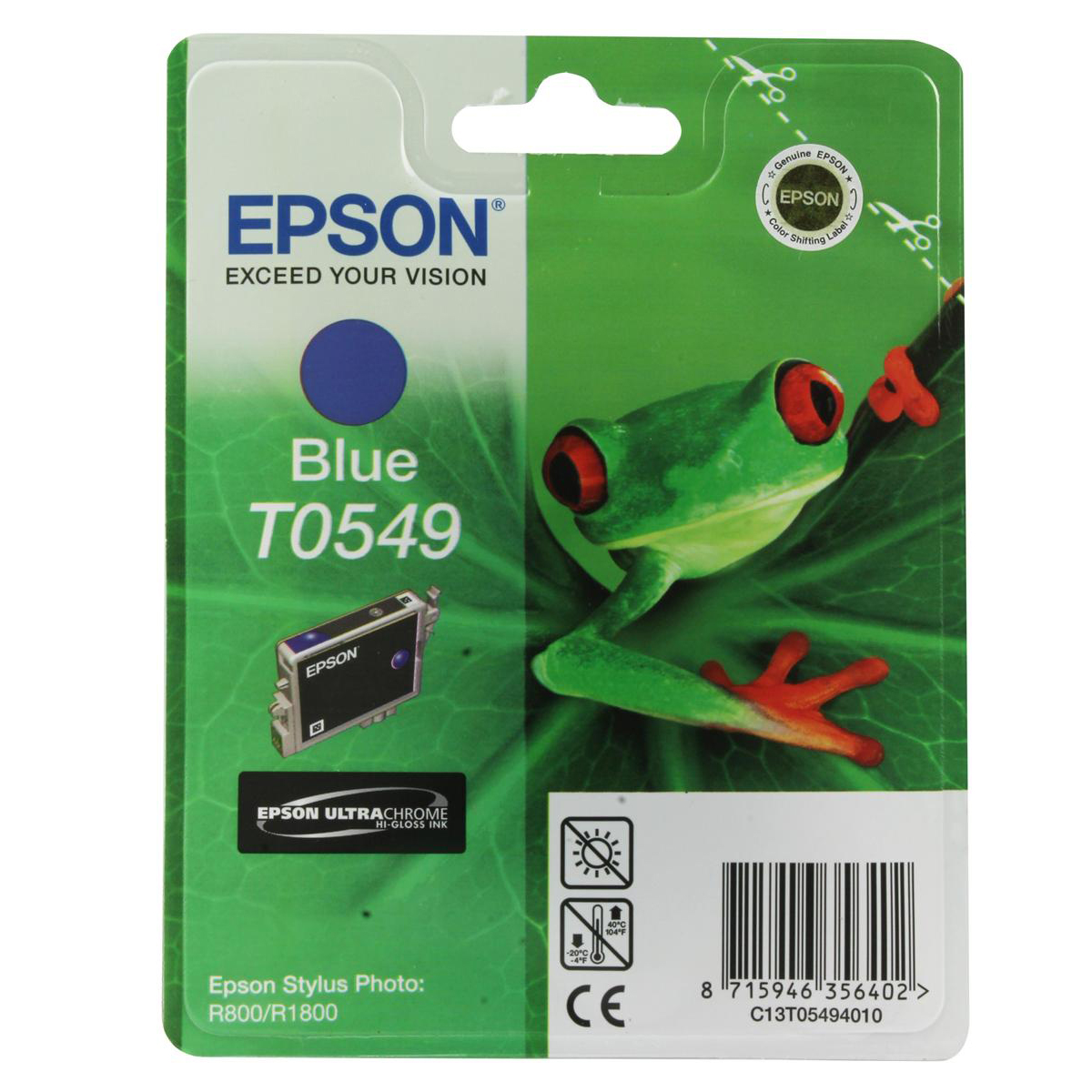 Epson T0549 Inkjet Cartridge Frog Page Life 400pp 13ml Blue Ref C13T05494010