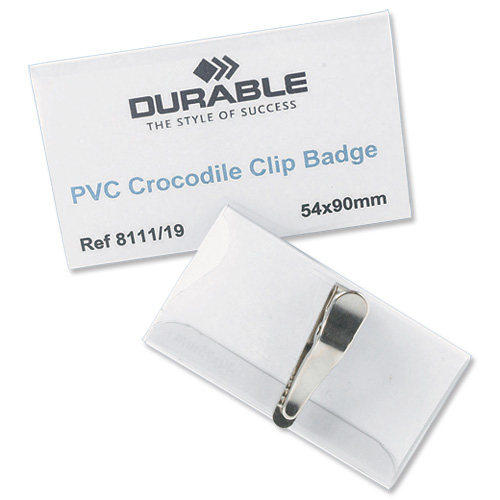 Durable Name Badges with Crocodile Clip 54x90mm Ref 8111 Pack 25