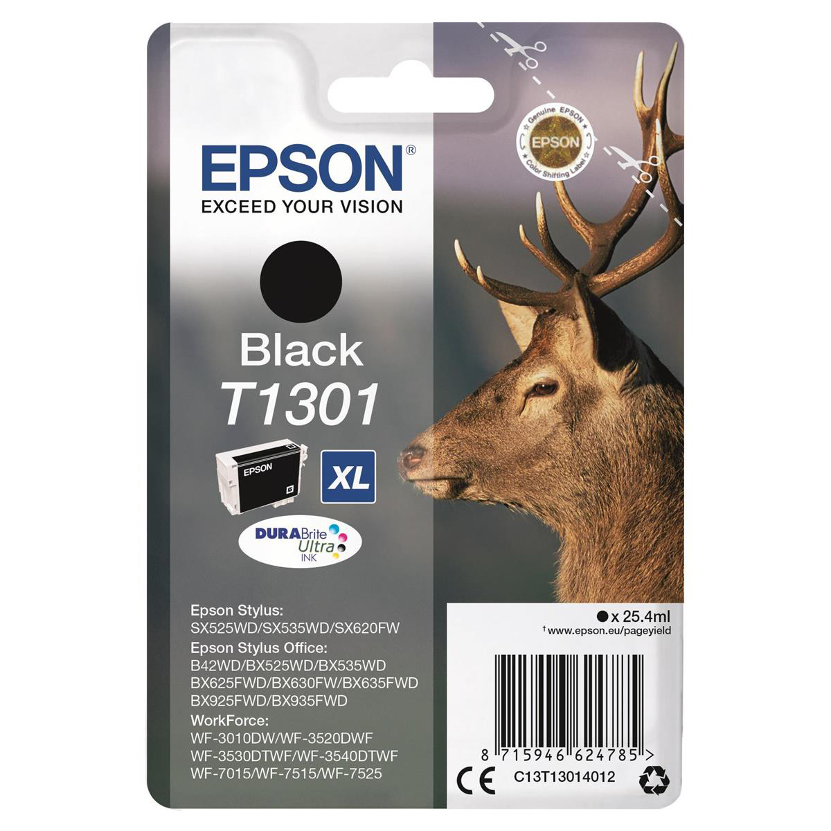 Epson T1301 Inkjet Cartridge Stag XL Page Life 945pp 25.4ml Black Ref C13T13014012