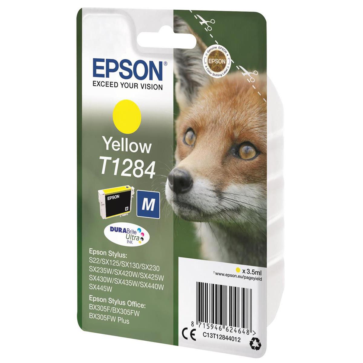 Epson T1284 Inkjet Cartridge Fox Page Life 230pp 3.5ml Yellow Ref C13T12844012