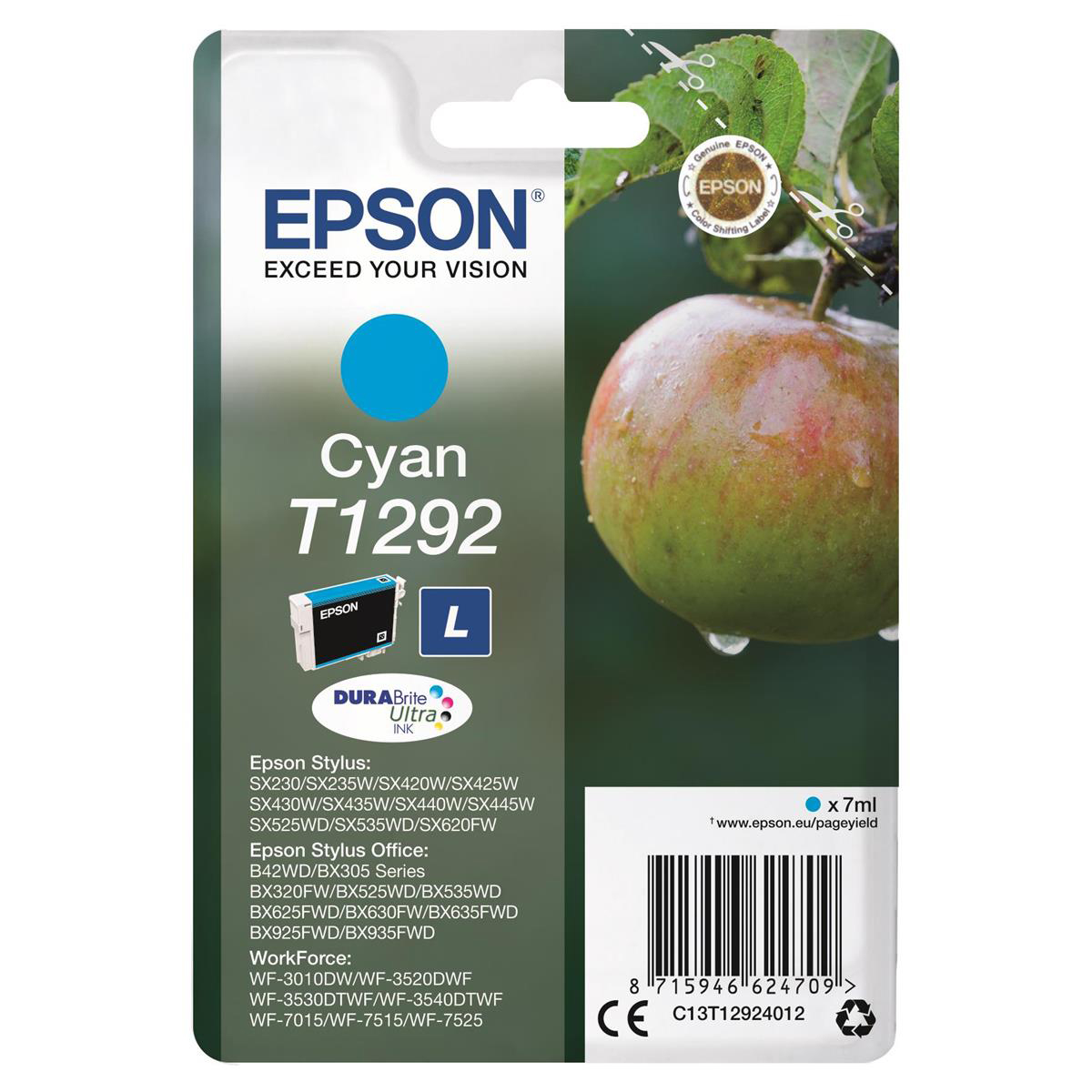 Epson T1292 Inkjet Cartridge Apple L Page Life 445pp 7ml Cyan Ref C13T12924012