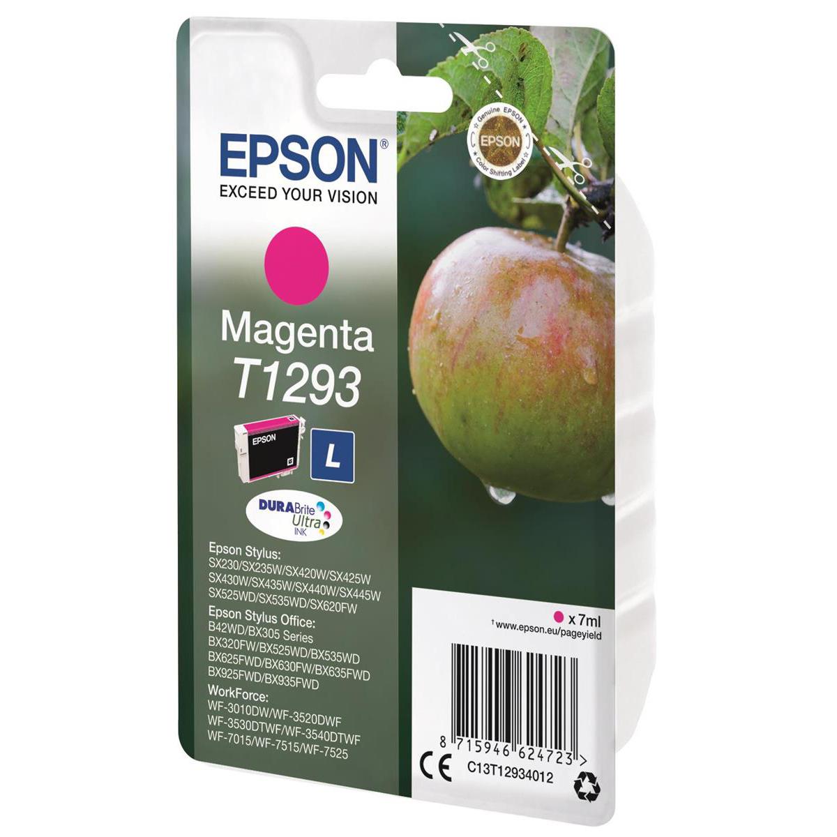 Epson T1293 Inkjet Cartridge Apple L Page Life 330pp 7ml Magenta Ref C13T12934012