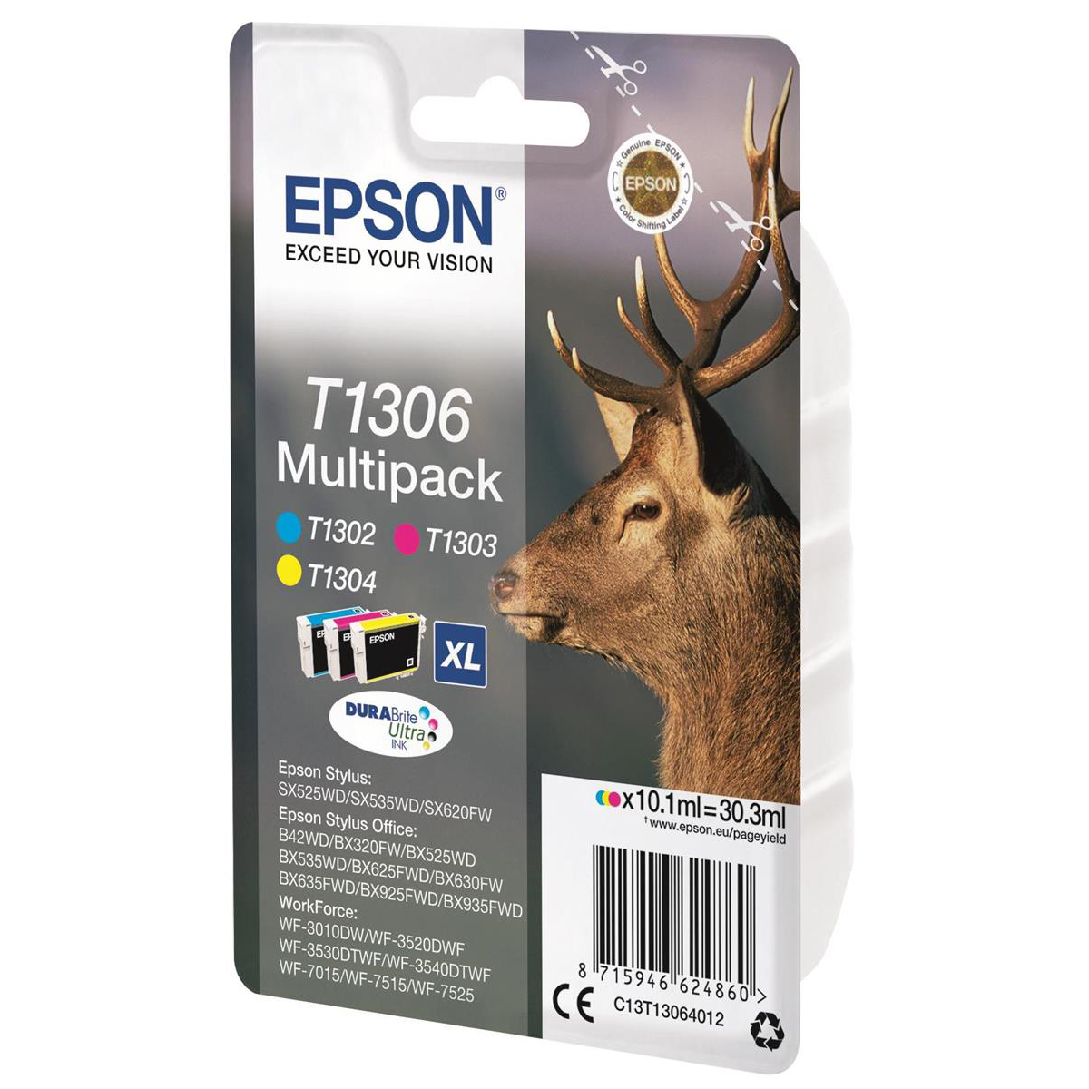 Epson T1306 InkjetCart StagXLPageLife 765ppCyan/600ppMag/Yell1005pp 10.1ml Ref C13T13064012 Pack 3