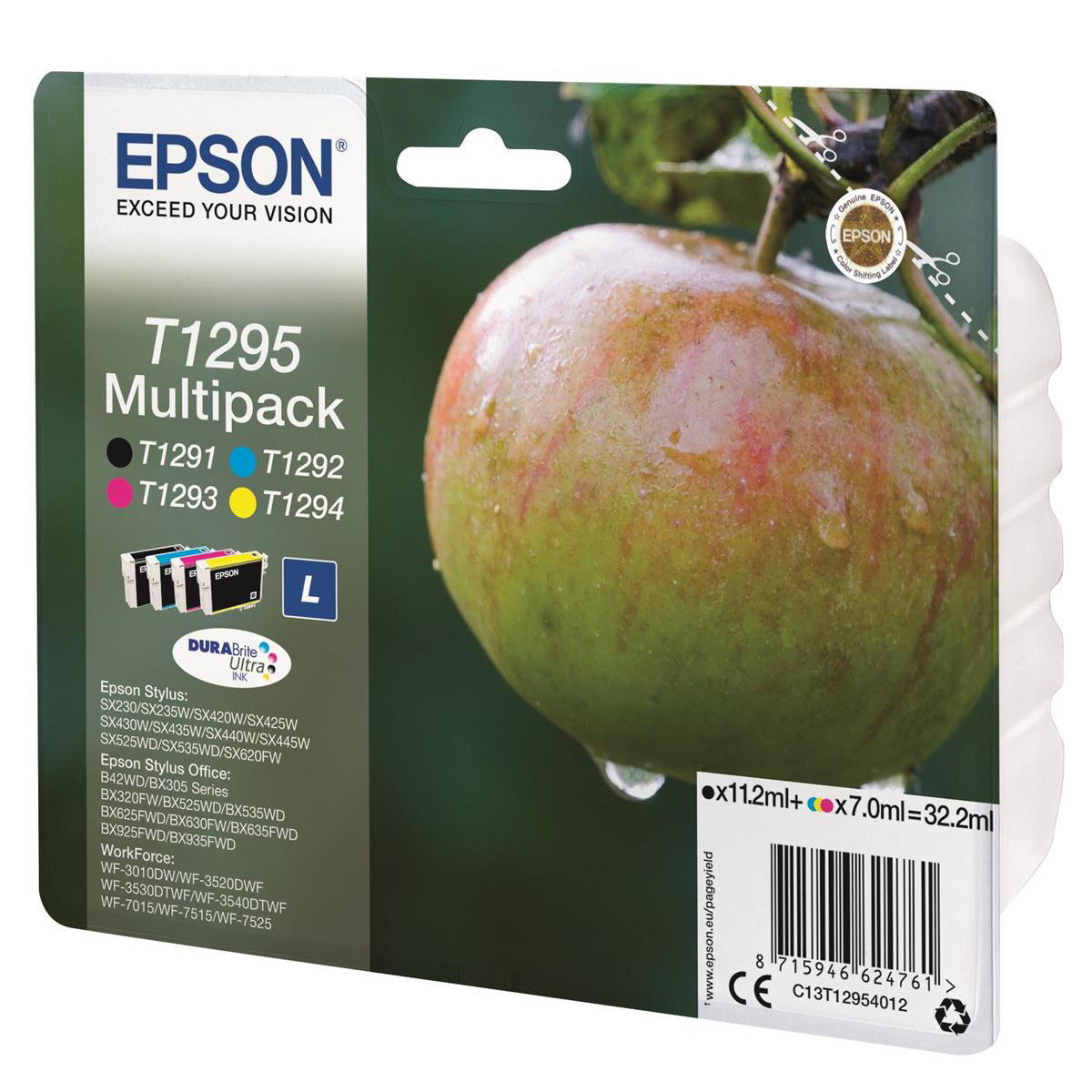 Epson T1295 InkCartApple L PageLife 380ppBlk/445ppCyan/330ppMag/545ppYell 7ml Ref C13T12954012 [Pack 4]
