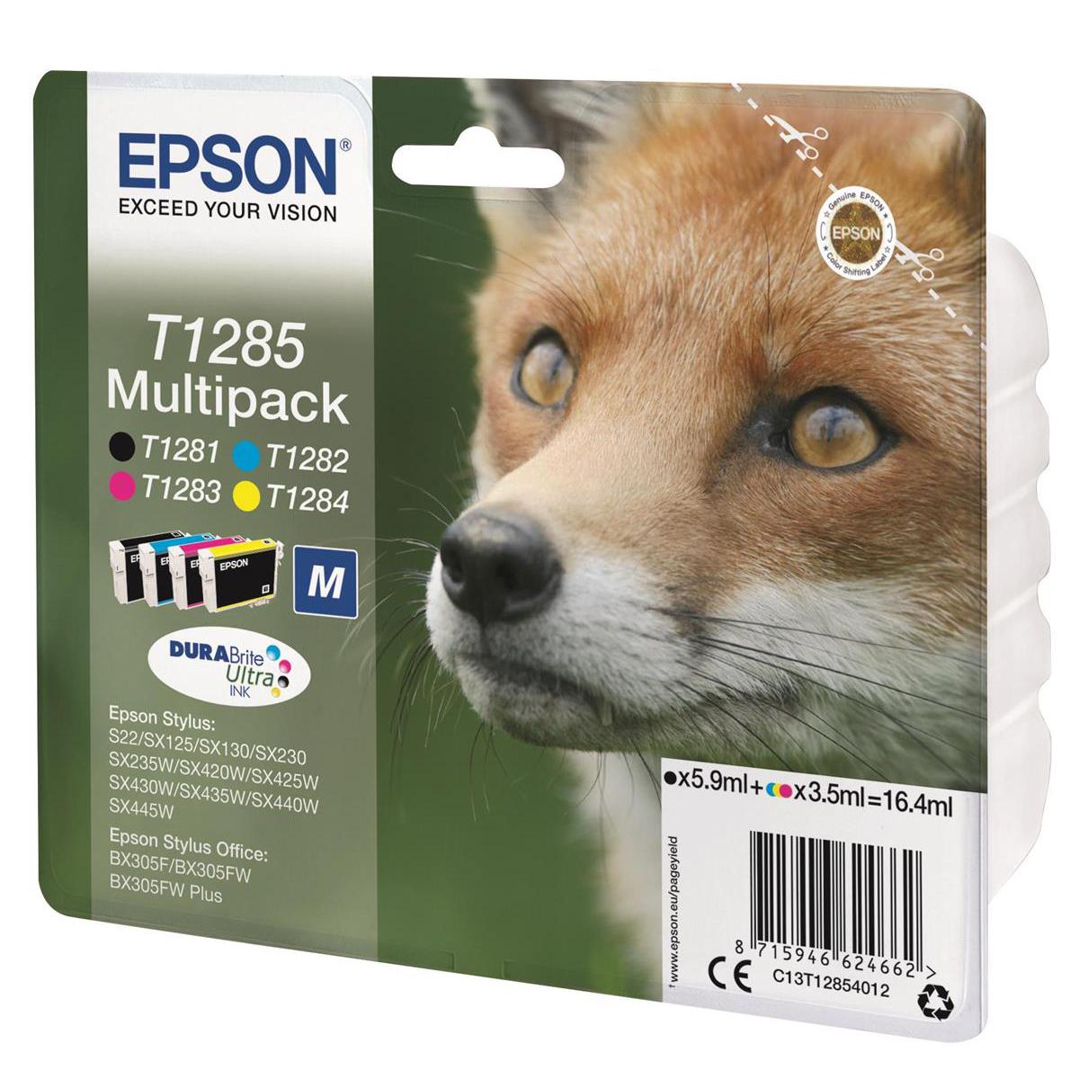 Epson T1285 Inkjet Cart Fox Blk190pp/ Cyan250pp/Mag 150pp/Yell 230pp 16.4ml Ref C13T12854012 Pack 4