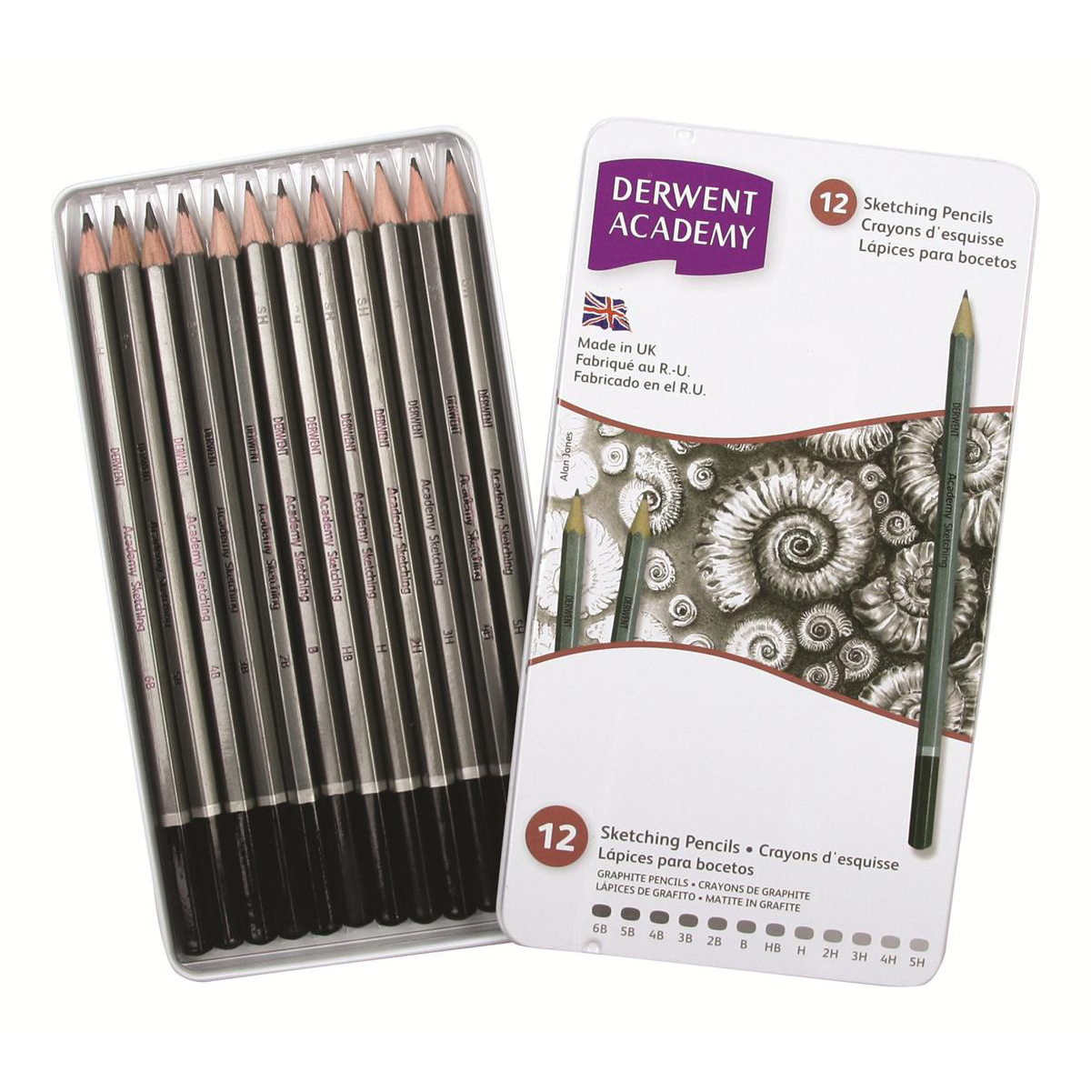 Derwent Academy Sketching Pencils 6B - 5H Ref 2301946 Pack 12